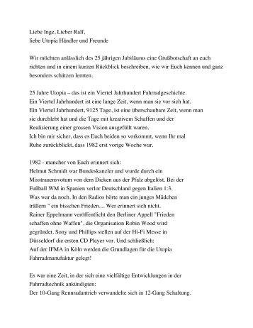 Zum Redetext von Barbara und Bernd Rohloff