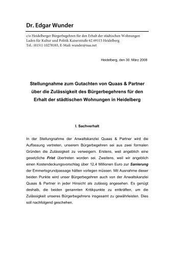 Dr. Edgar Wunder - Stadtpolitik Heidelberg