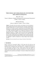 The Role of Feelings in Investor Decision‐Making