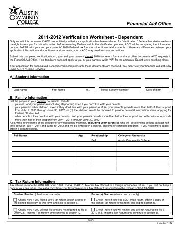 Verification Worksheet Fafsa Worksheets For School - Studioxcess