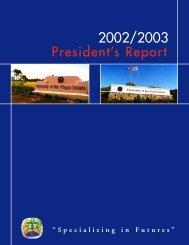President's Report 2002-2003 - University of the Virgin Islands