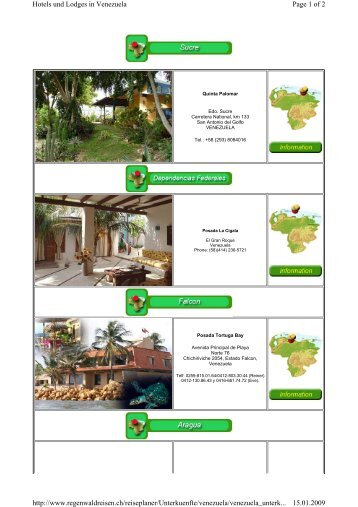 Page 1 of 2 Hotels und Lodges in Venezuela 15.01.2009 http://www ...