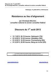 Résistance au lieu d'alignement Discours du 1 ... - Christoph Blocher