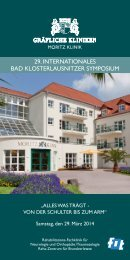 29. internAtionAles bAd KlosterlAusnitzer symposium - Moritz Klinik