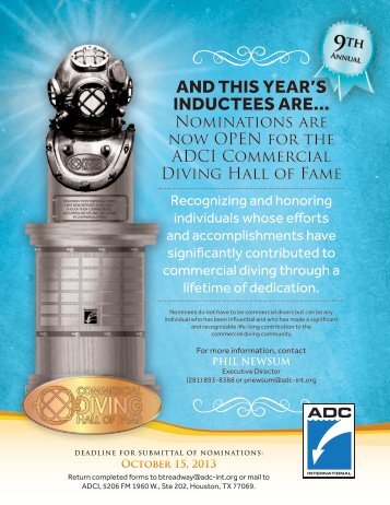 ADCI Commercial Diving Hall of Fame - UnderWater Magazine