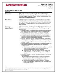Title of Medical Policy - Presbyterian Healthcare Services