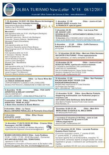 Newsletter ufficio turismo Olbia n. 18 del 08/12/2011 (PDF)