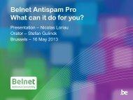 Belnet Antispam Pro What can it do for you? - Belnet - Events