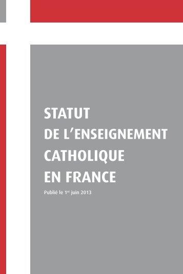 CATHOLIQUE STATUT EN FRANCE - Enseignement Catholique