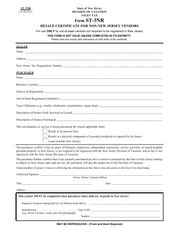 ST-3 Form for all in state resellers