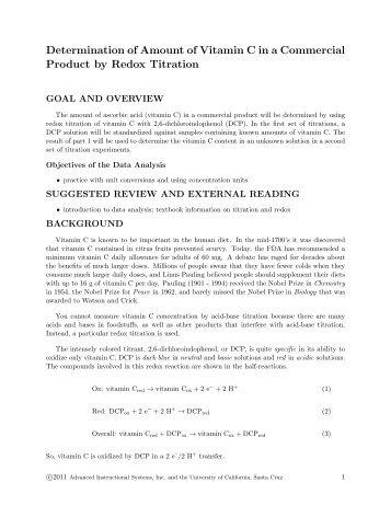 acid determination of vitamin c Chl 212 – quantitative analysis in the determination of dissolved ca2+ and mg2+ experiment  vitamin c (ascorbic acid).