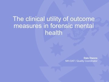 The clinical utility of outcome measures in forensic mental health