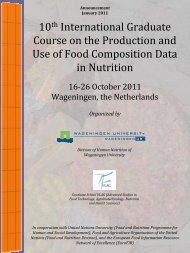 Production and use of food composition data in nutrition - Graduate ...