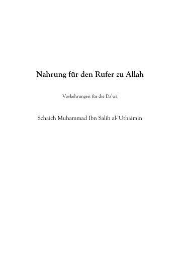Nahrung für den Rufer zu Allah - Salaf.de