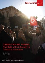 Transforming TUnisia The role of Civil society in ... - International Alert