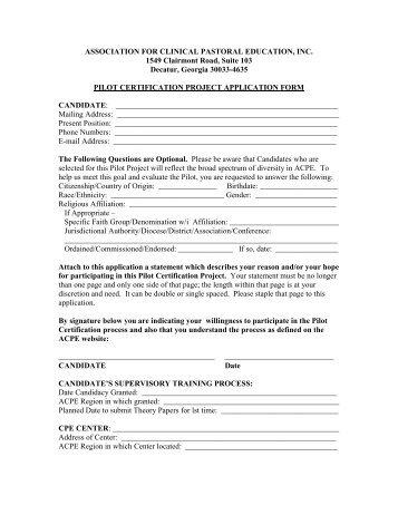 Pilot Certification Project Application Form - ACPE