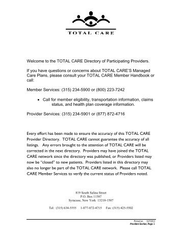 Welcome to the TOTAL CARE Directory of Participating Providers. If ...
