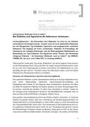 Bei Diabetes und Hypertonie die Adherence ... - signum [ pr GmbH