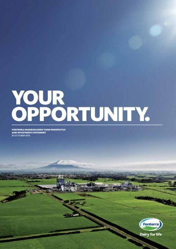 Fonterra Shareholders' Fund Prospectus and Investment Statement
