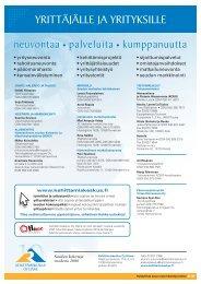 YRITTÄJÄLLE JA YRITYKSILLE - Kehittämiskeskus Oy Häme