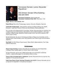 Tennessee Senator Lamar Alexander Republican 455 Dirksen ...