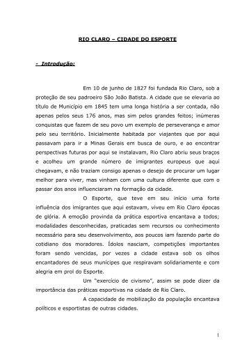 Rio Claro - cidade dos esportes - Claudio Di Mauro