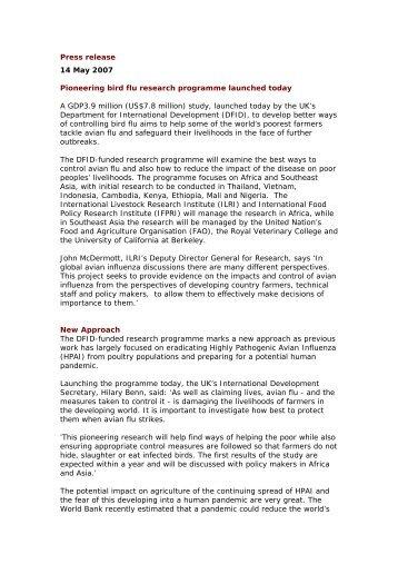 Press release 14 May 2007 Pioneering bird flu research programme ...
