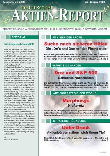 Unter Druck Dax und S&P 500 Morphosys - Deutscher Aktien-Report