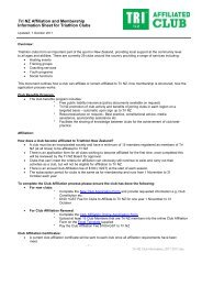 Tri NZ Affiliation and Membership Information Sheet for Triathlon Clubs