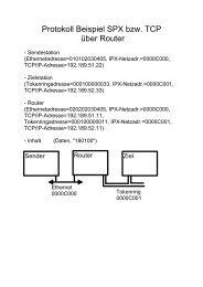 Beispiele für die Header (IPX, SPX, IP, TCP)