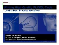 Writing High Quality PL/SQL Code - Quest Software