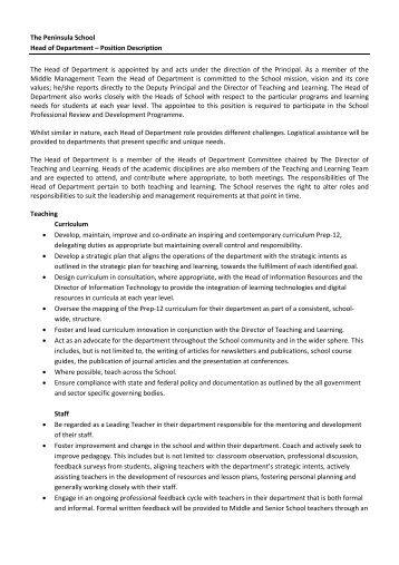 The Peninsula School Head of Department – Position Description ...