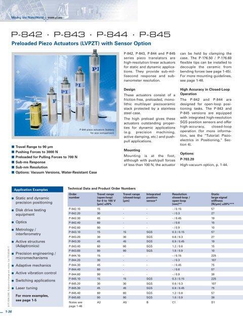 P-842 Datasheet (PDF), Preloaded Piezo Actuators (LVPZT