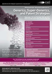 Generics, Super-Generics, and Patent Strategies - PharmInvent