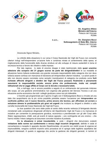 lettera ministro alfano 28.06.2013