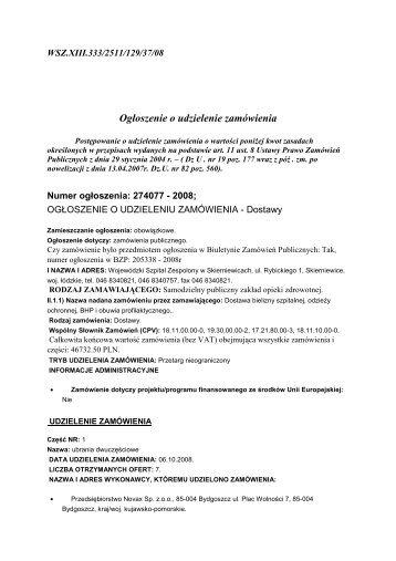 ogłoszenie o udzieleniu zamówienia - Wojewódzki Szpital ...