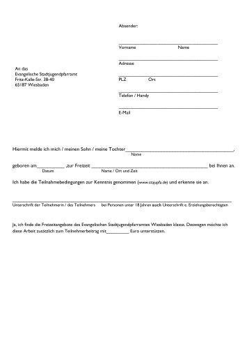 Anmeldung und Teilnahmebedingungen - Evangelisches ...