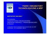 PARKI I INKUBATORY TECHNOLOGICZNE A MŚP