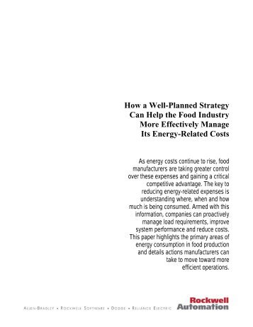 Strategy for the Food Industry: Effectively Managing Energy Costs