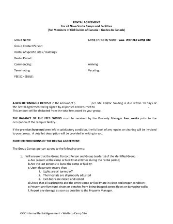 Three Meadows Group Camp Rental Agreement Idaho State Parks