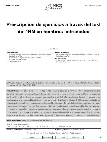 Prescripción de ejercicios a través del test de 1RM en hombres ...