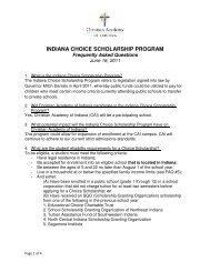 indiana choice scholarship program - Christian Academy School ...