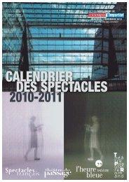 Calendrier des spectacles 2010-2011 - Théâtre du Passage