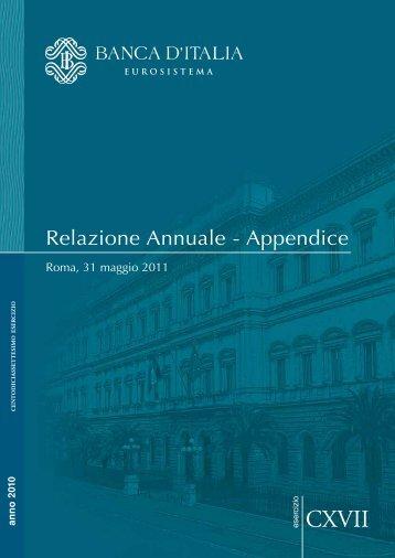 Relazione Banca d'Italia 2011 - appendice.pdf - Facolta' di Scienze ...
