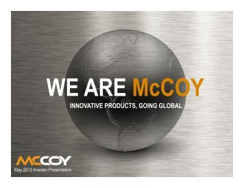 innovative products going global innovative products, going ... - McCoy