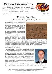 PresseInformation des Vereins zur Förderung der Astronomie - Die ...