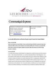 Communiqué de presse - Les Roches International School of Hotel ...