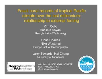 Fossil coral records of tropical Pacific climate over the last millennium