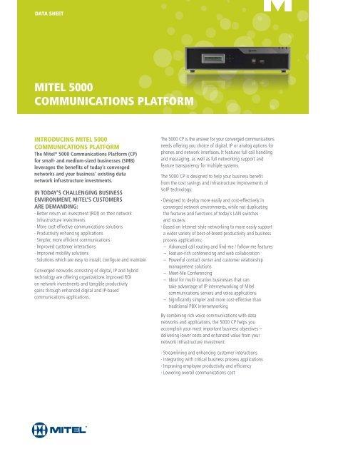 Mitel 5000 Communications Platform Data Sheet (PDF) - ICS