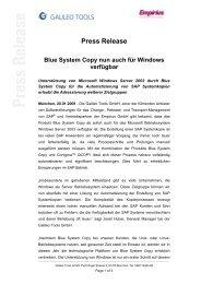 Press Release Blue System Copy nun auch für ... - Galileo Group AG